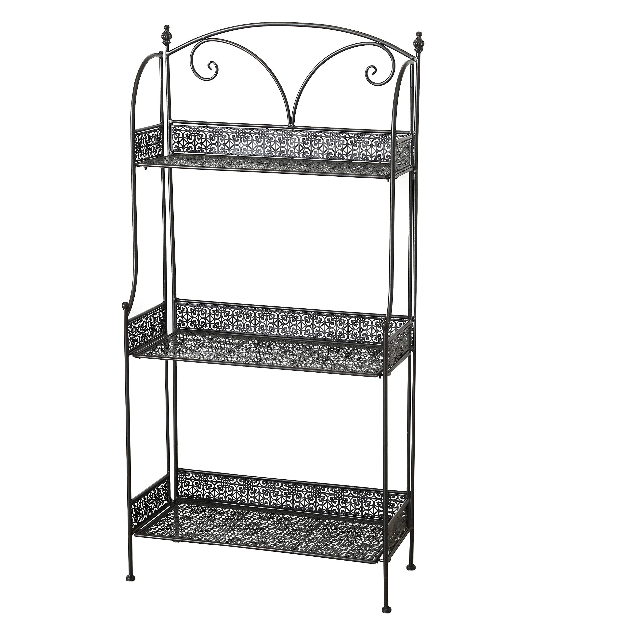 WHW Whole House Worlds Farmers Favorite 3 Tier Rack, Plant Stand, Black Powder Coated Iron, Punched Floral Fold-Out Rimmed Shelves, Finial Top Details, 23 1/2 L x 11 W x 48 H Inches, (60 x 122 cm)