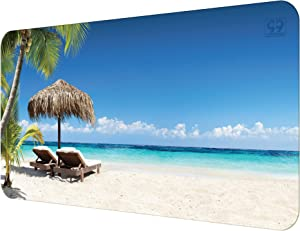 """Multipurpose Office Desk Pad and Computer Desk Mat - Waterproof Office Desk Mat and Desk Blotter Pad - Home Office Accessories (31.5"""" x 15.75"""", Tropical Beach)"""