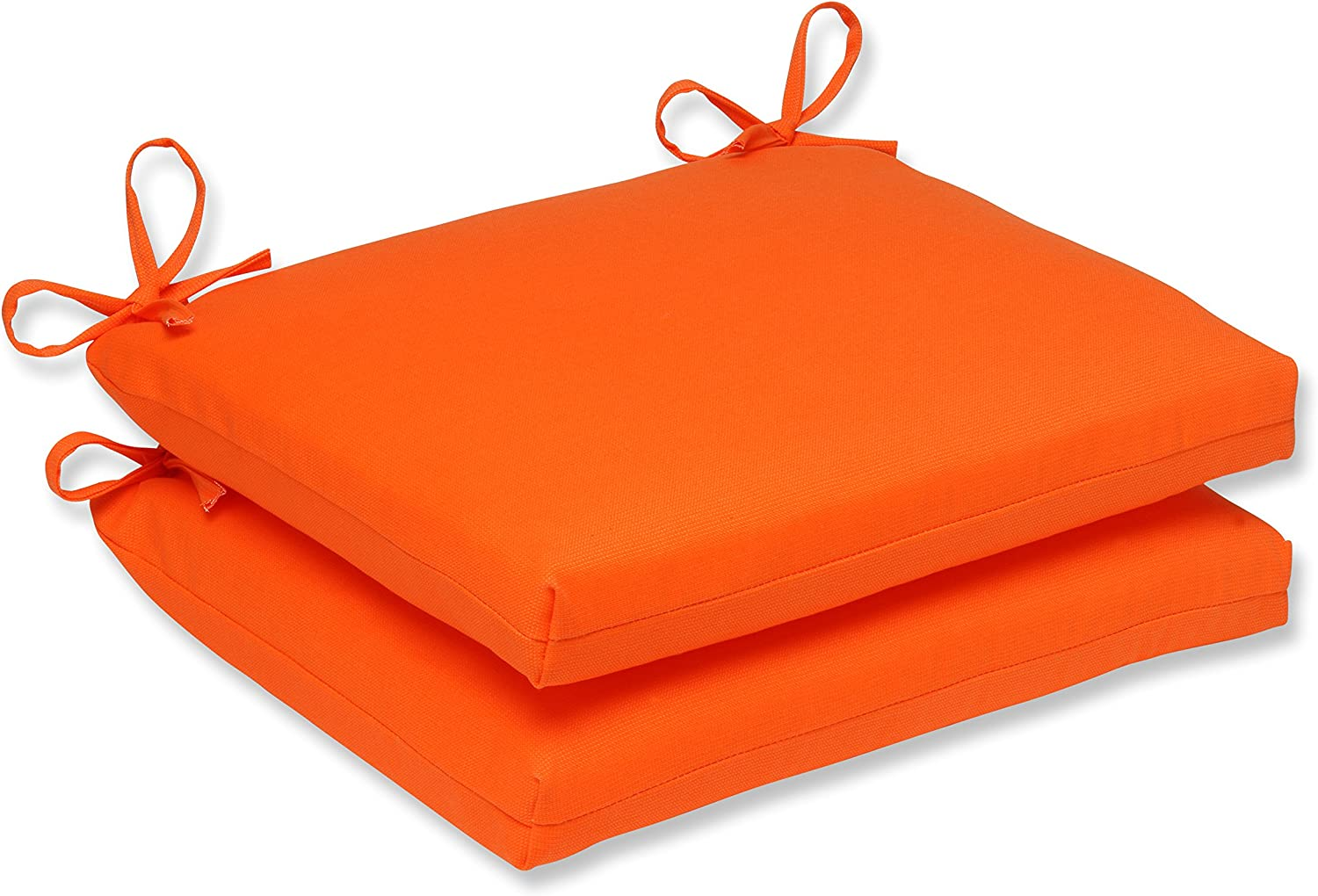 Pillow Perfect 496696 Outdoor/Indoor Sundeck Square Corner Seat Cushions, 18.5 in. L X 16 in. W X 3 in. D, Orange, 2 Pack