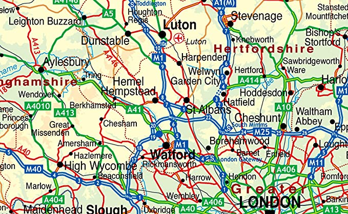 South of England Map Includes Cities Towns and Roads Greater
