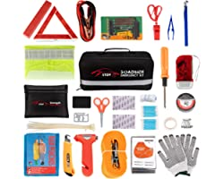 STDY Car Roadside Emergency Kit, Auto Vehicle Truck Safety Emergency Road Side Assistance Kits with Jumper Cables, First Aid