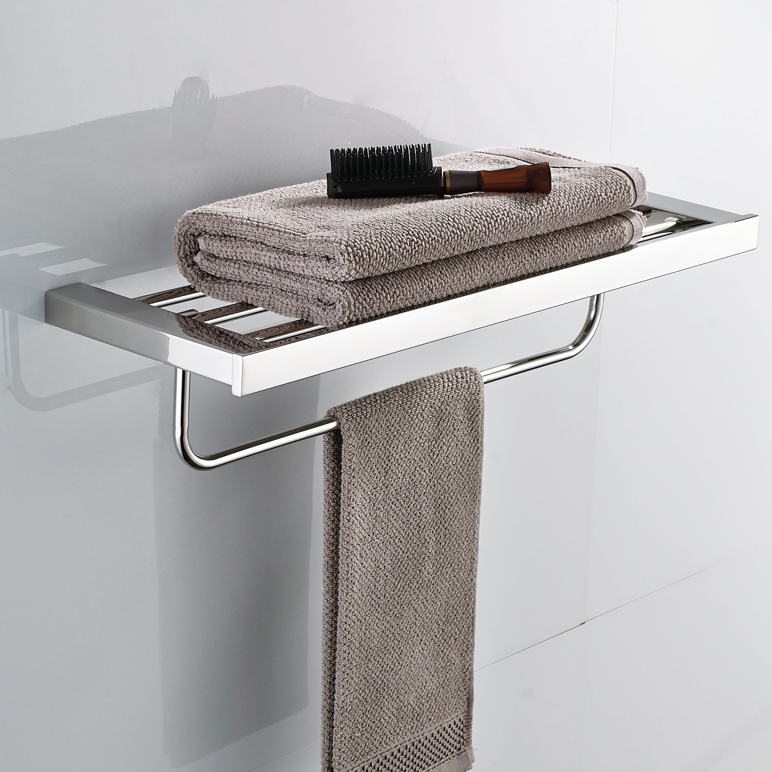 Bath Towel Shelf with Movable Bar 24 inch Stainless Steel Bathroom Décor Rack Hotel Style Invisible Wall Mount Hanger Washcloth Holder Rack Hardware Included Polished Chrome MARMOLUX ACC