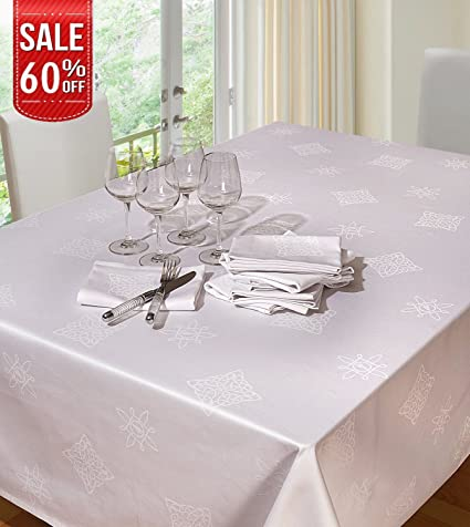 Attirant Linenwalas Tablecloth White Cotton Damask U2013 Jacquard Shemrock 54 Inch X 70  Inch Rectangle Table Cover
