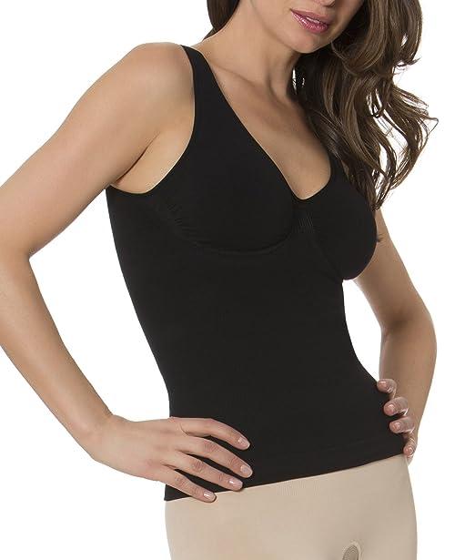 931c27350f Aha Moment by N-Fini Women s Lycra DBL V-Neck Tank Shapewear Built ...