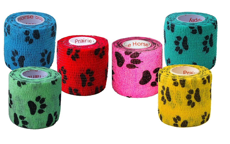 2 Inch Vet Wrap Tape Bulk (Assorted Colors) (6, 12, 18, or 24 Packs) Self-Adhesive Self Adherent Adhering Flex Bandage Rap Grip Roll for Dog Cat Pet Horse 810FjF%2Bec6L