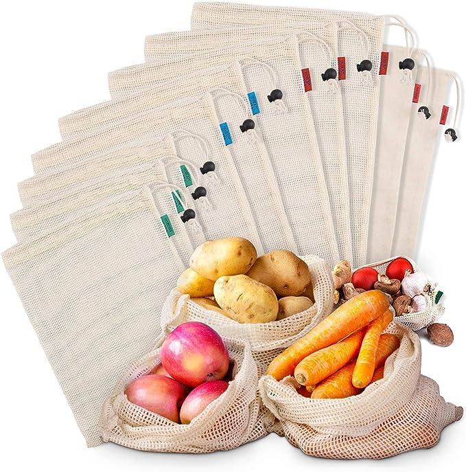 Bolsas de Malla Reutilizables Kupton, Bolsas de Algodón Orgánico para Frutas y Vegetales para Almacenar Comida, Ir de Compras y Guardar Juguetes- Paquete de 10 piezas: Amazon.es: Ropa y accesorios