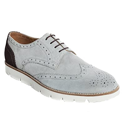 Handmade Casual Brogue Shoe In Real Calf Suede Leather (Lace ups) For Men In Grey Colour