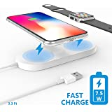 Apple Watch Wireless Charger,Belker Qi-standard 2 in 1 Apple Watch Charger to power your new iPhone and Apple Watch simultaneously,design for iPhone X/8/8 Plus and Apple Watch,Samsung series