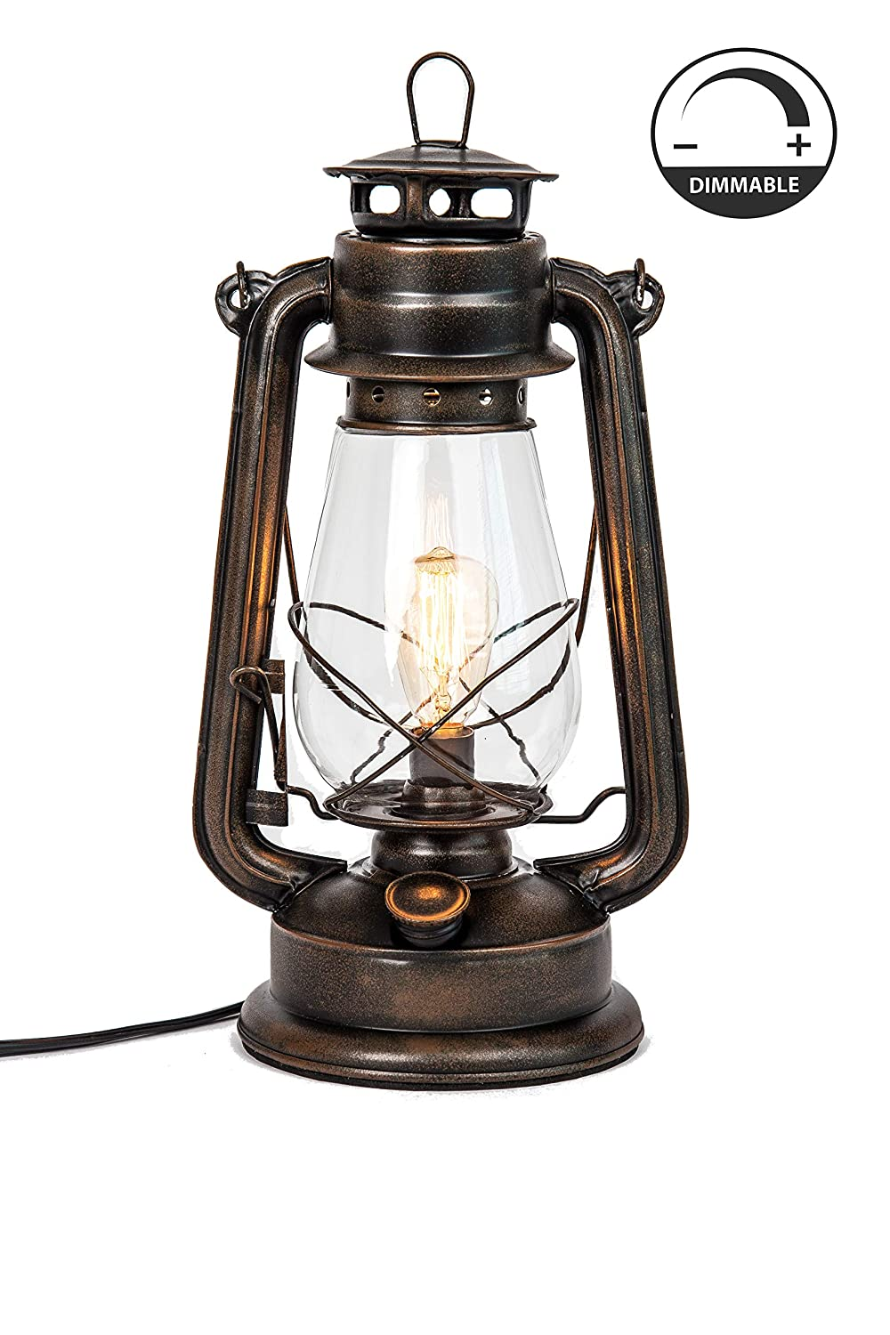 Dimmable Electric Lantern lamp with Edison Bulb Included Rustic Rust Finish Muskoka Lifestyle Products MUS113