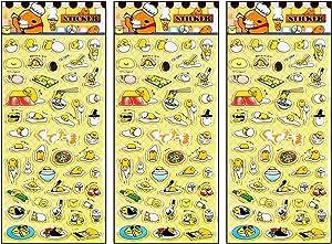 PARITA Stickers Foam Bubble Funny Eggs Breakfast Fried Egg Sunny Fast Food Cartoon Sticker Removable for Scrapbooking Laptop Skateboard Car Graffiti Computer Keyboard DIY Design (Pack 3 PCS.) (08)