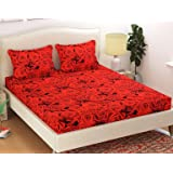 HFI Homefab India Polycotton Double Bedsheet with 2 Pillow Covers - Red Rose