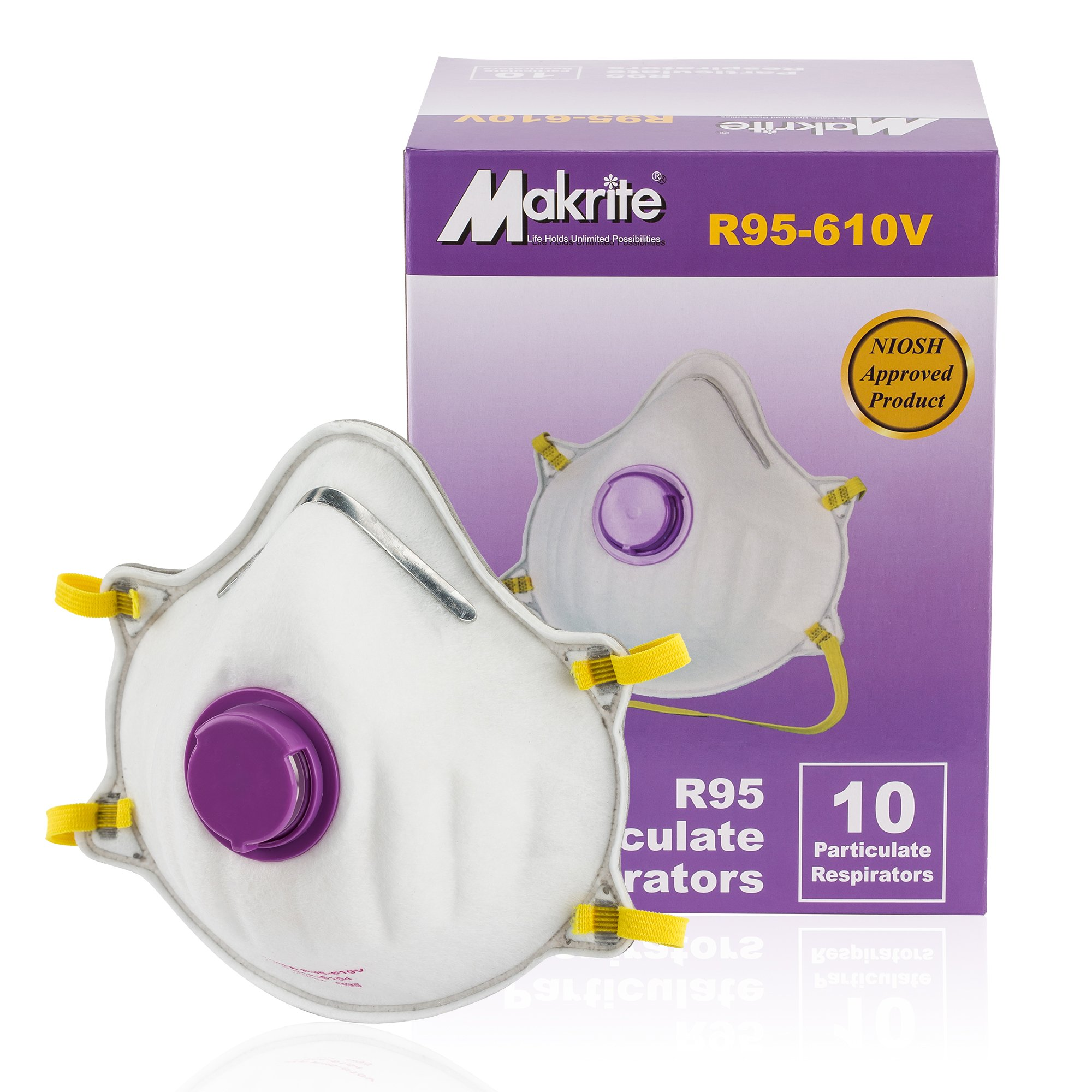 Makrite R95 Dust Mask with Valve (10 Pack), NIOSH Approved Oil Resistant Disposable Particulate Respirator - Cleaning, Bleaching, Gardening, Welding, Sanding, Grinding, Woodwork, Welding, Construction by Makrite (Image #1)