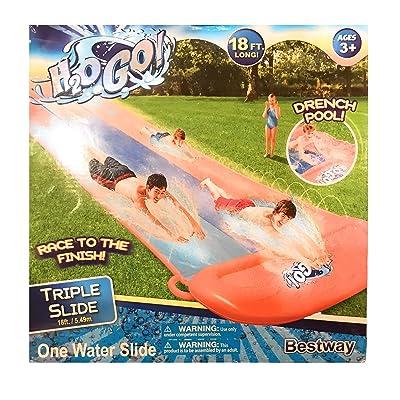 H2OGo 18' Long Triple Water Slide Including Drench Pool: Toys & Games