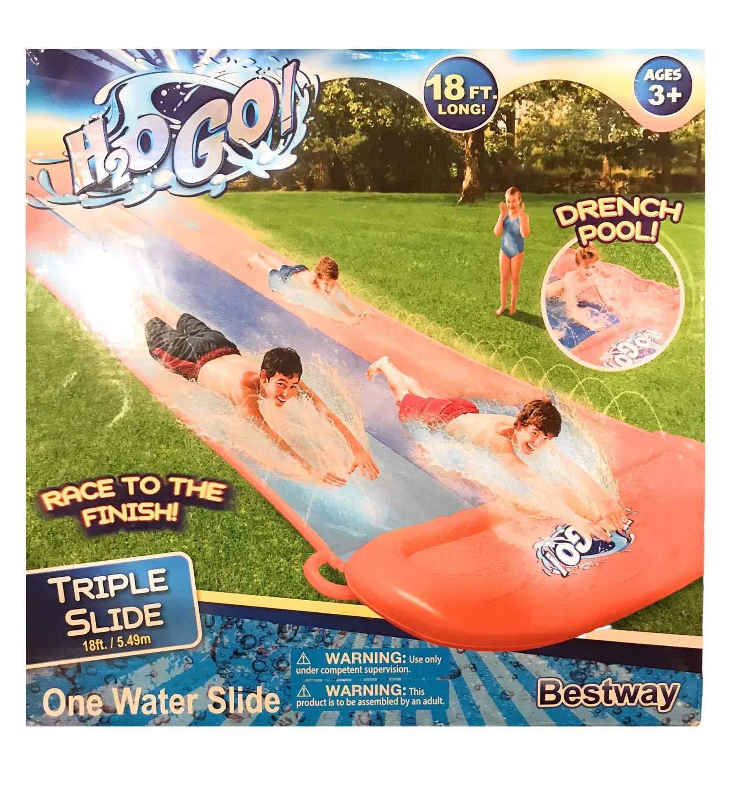 H2OGo 18' Long Triple Water Slide Including Drench Pool by H2OGo