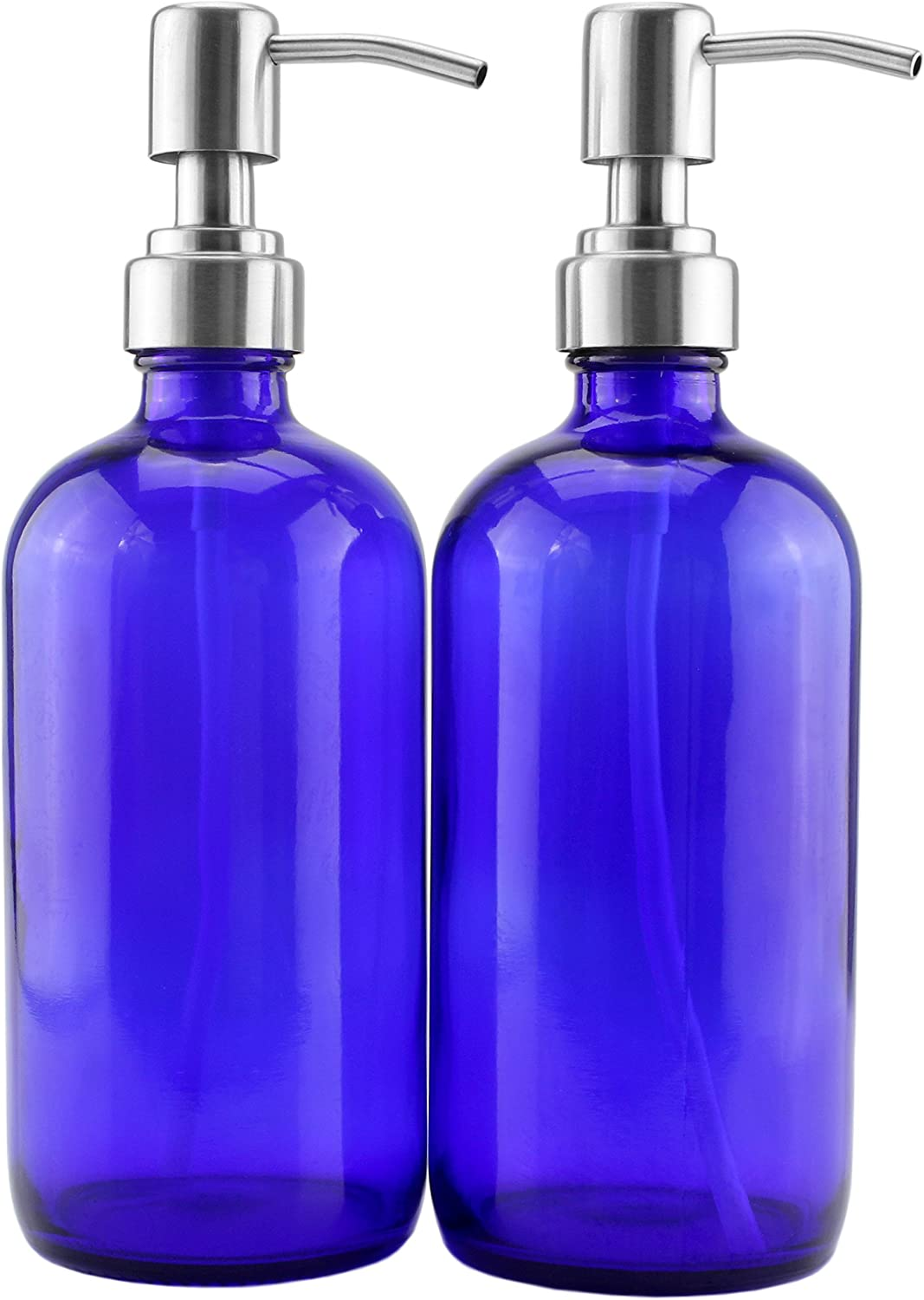 16-Ounce Cobalt Blue Glass Bottles w Stainless Steel Pumps 2-Pack , Soap Dispenser w Lotion Pumps for Essential Oil Bottles, Lotions, Liquid Soap, and More