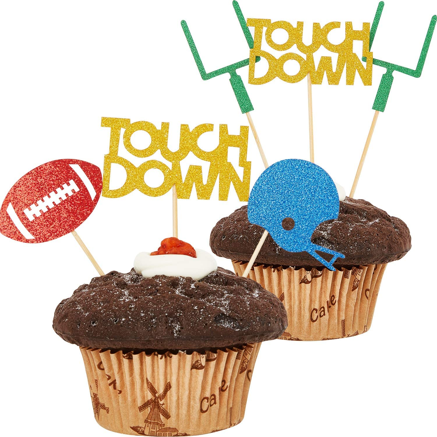 48 Pieces Football Cupcake Toppers Rugby Ball Cake Toppers Rugby Football Cake Decorations for Birthday Baby Shower Party Supplies