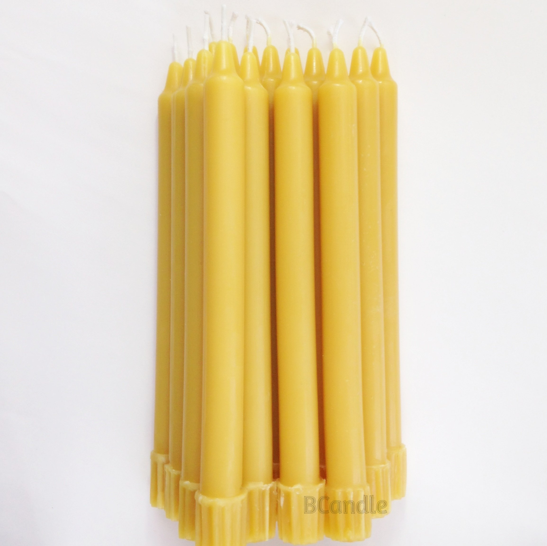 BCandle 100% Pure Beeswax Candles (Set of 16) 8-Hour Organic Hand Made - 8 Inches Tall, 3/4 Inch Diameter; Tapers