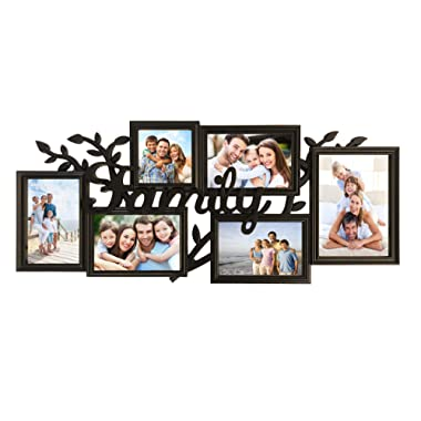 BestBuy Frames Family Photos Collage Picture Frames Wall Hanging Collage Picture Frame with Various Shaped 6 Openings Six 4x6 Photo Frame for Reunions, Birthday & Family Picture