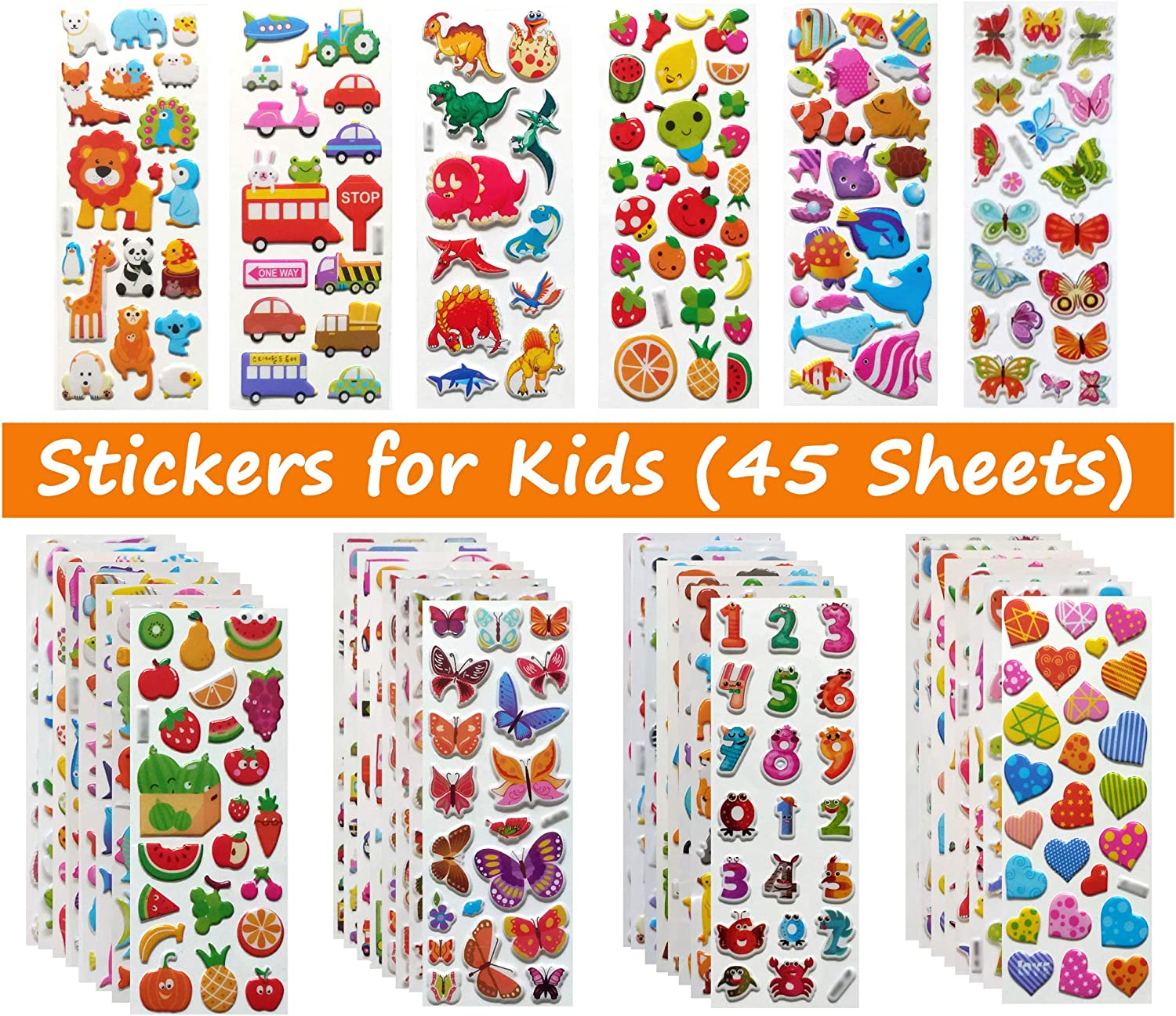 Stickers for Kids, Puffy Stickers for Toddlers, Great Gift for Girls and Boys - Best for 2, 3, 4, 5 Year Olds and Up (Stickers for Kids-A1.)