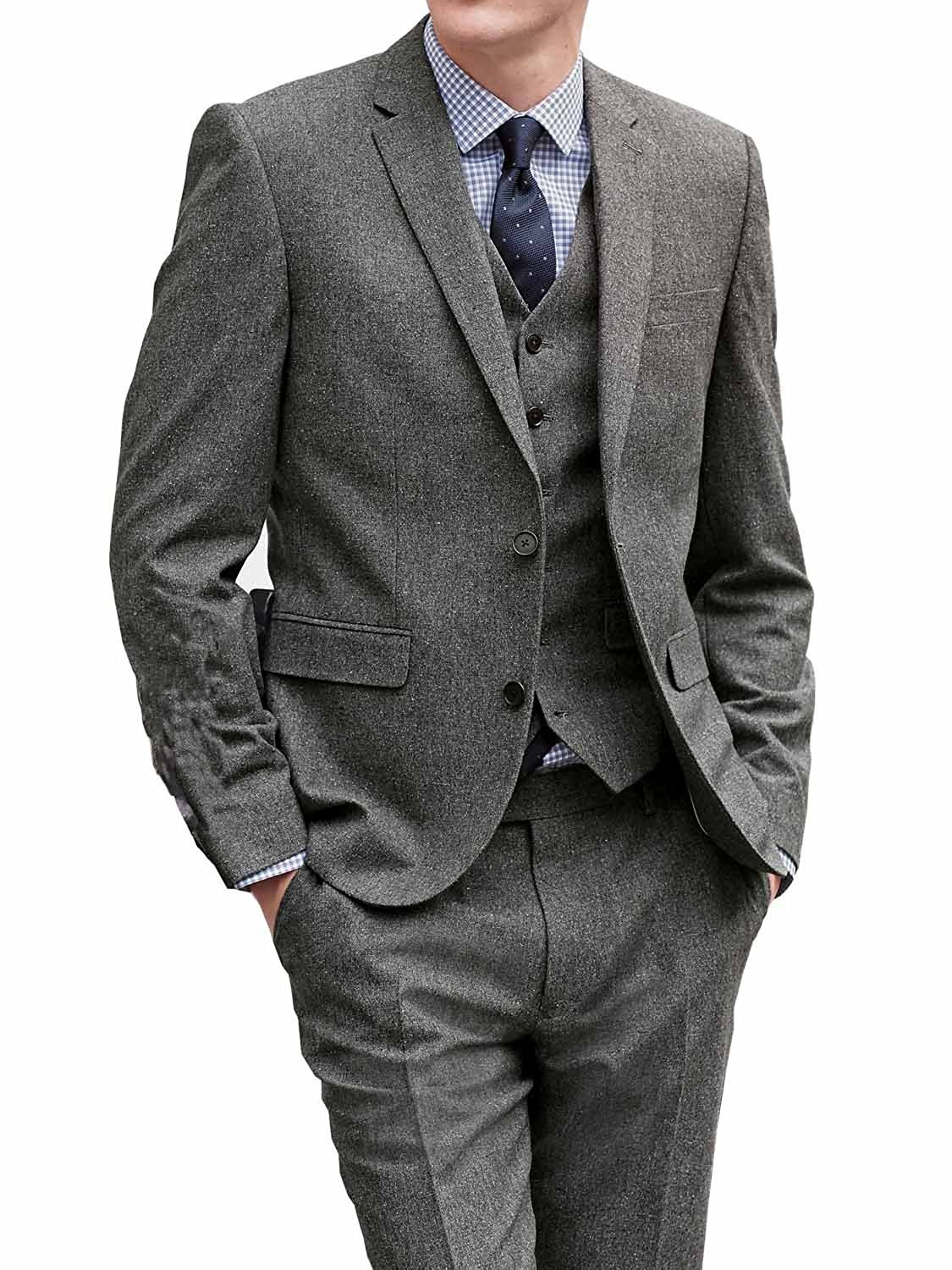 Pretydress Grey Men's Double Breasted Mature 3-Piece Suit (Grey, X-Large)