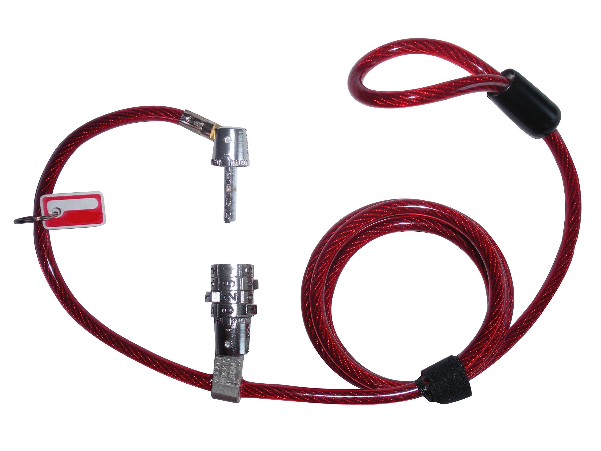 ValetMyStick Skateboard Snowboard Razor RipStik Scooter Combination Cable Lock (Red - preset Combo)