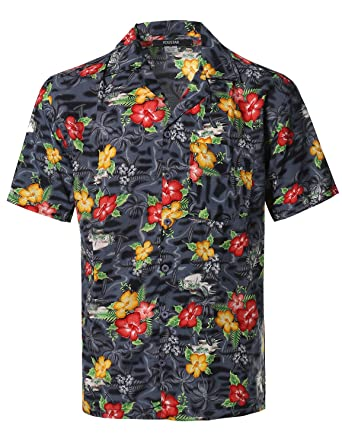 Amazon.com: Youstar Men's Hawaiian Print Button Down Short Sleeve ...