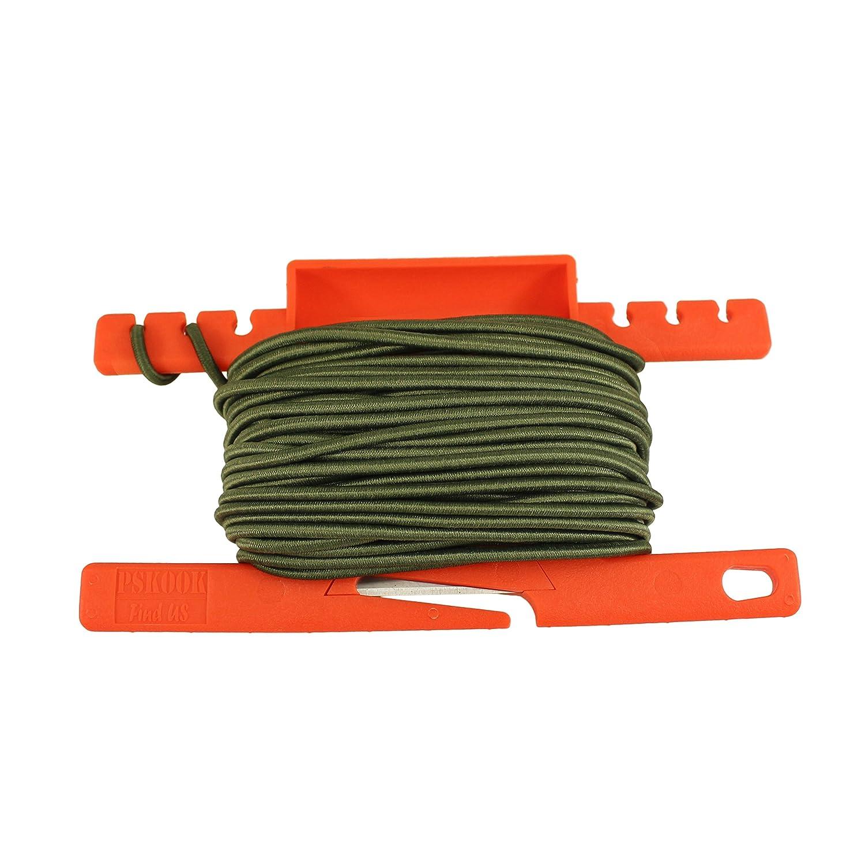 PSKOOK Cable elá stico Shock Bungee con una Herramienta de Carrete Multifuncional para la Supervivencia al aire Libre 1/8 inch 3mm 50FT(Negro)