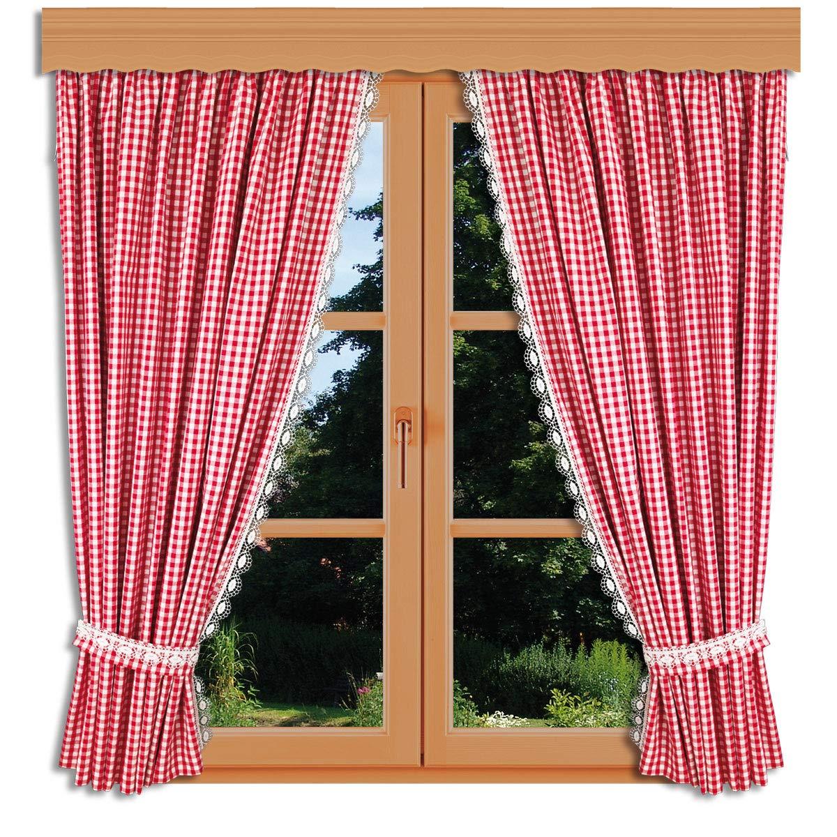 Hochwertiges Landhaus-Design rot-weiß kariert Set 2 Dekoschals inkl. Raffhalter Vorhangset Helena mit Echter Plauener Spitze