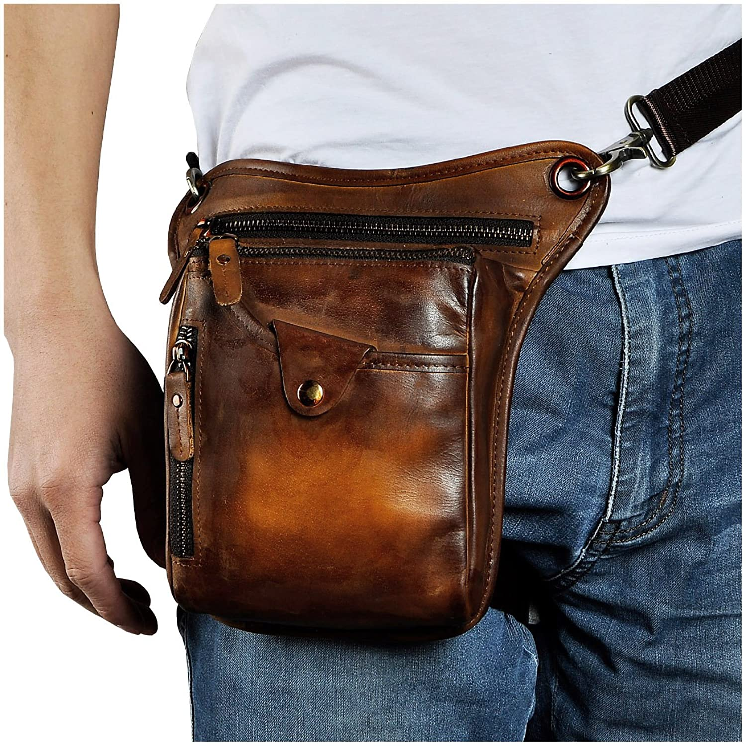 Le'aokuu Mens Quality Leather High Fashion Multifunction Travel Messenger Shoulder Sling Bag Motorcycle Hunting Gym Organizer Sport Hiking Belt Waist Pack Pouch Drop Leg Bag With Leg Strap 211-5