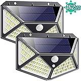 Luz Solar Exterior 162 LED, QTshine【2020 Última versión】Foco Solar con Sensor de Movimiento Gran Angular de Iluminación 270º Lámpara Solar Impermeable 3 Inteligente Modos Para Jardín [ 2 Paquete ]