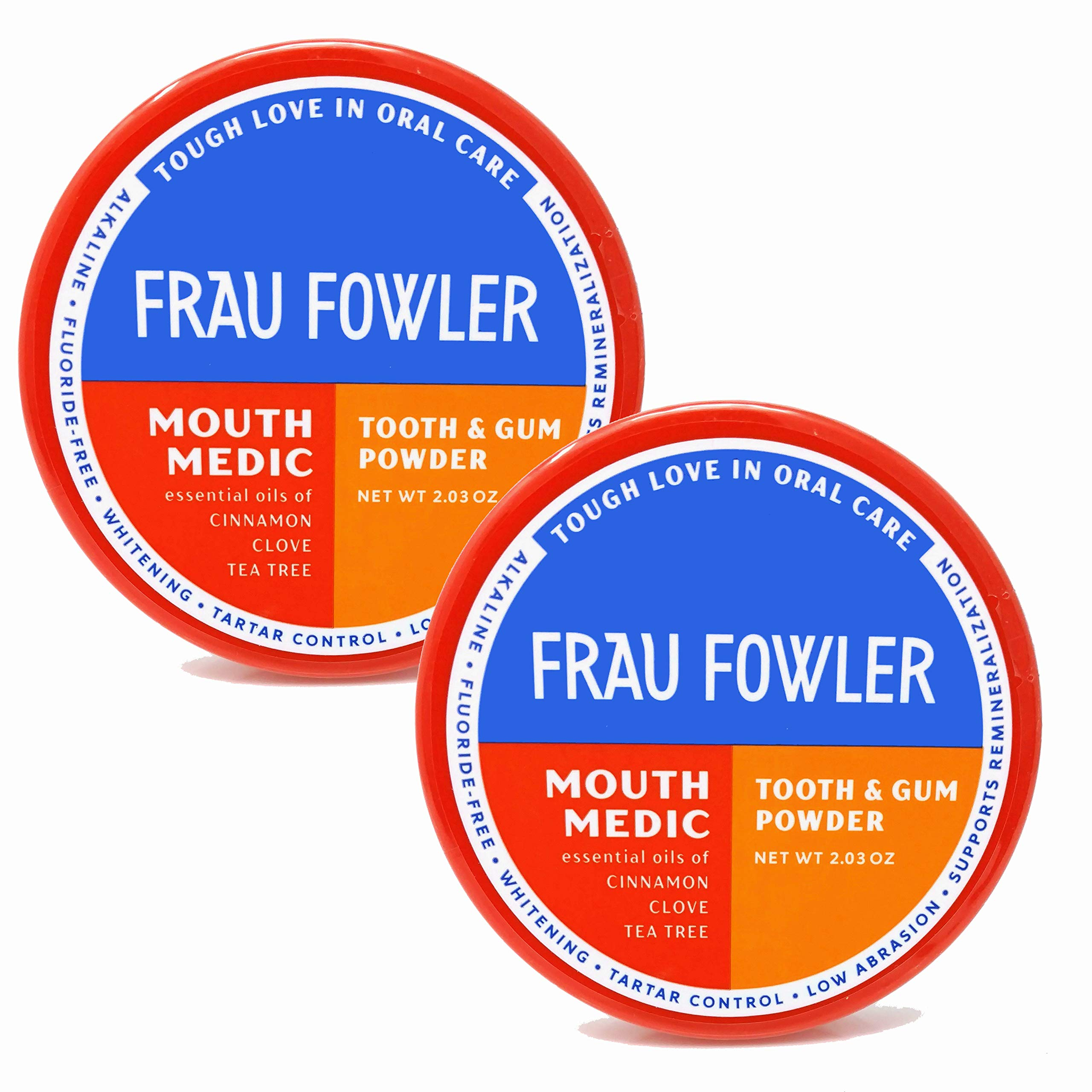 Frau Fowler Remineralizing Organic Tooth Powder, Mouth Medic (Cinnamon/Cove) 2 Pack, Tooth Whitening Naturally, Fluoride-Free, 2 oz each