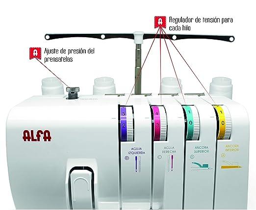 Alfa 8707 Overlock Maquina remalladora, Blanco, 39 X 32 X 35 Cm ...