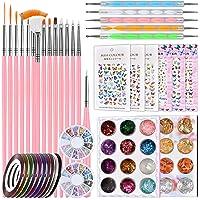 Manicure Nail Art Set, Kalolary Nagelkunst Benodigdheden met Nagellak Puntjesborstels Pennen, Nagel Striping Tapes…
