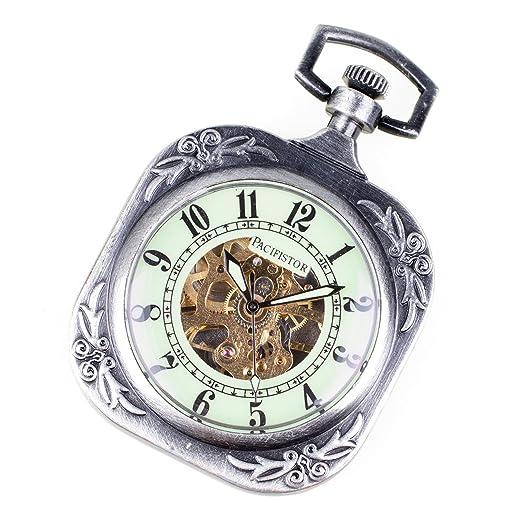 Reloj de Bolsillo Mecánico antiguo cuadrado PACIFISTOR brilla en la oscuridad al cazador de acero de plata de la cadena de+: Amazon.es: Relojes