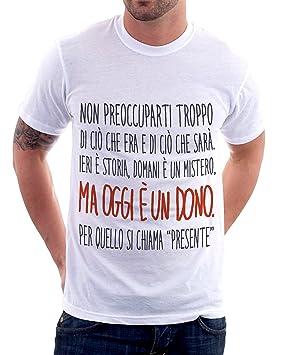 Camiseta Con Frases El Presente Oggi Es Un Dono S M L