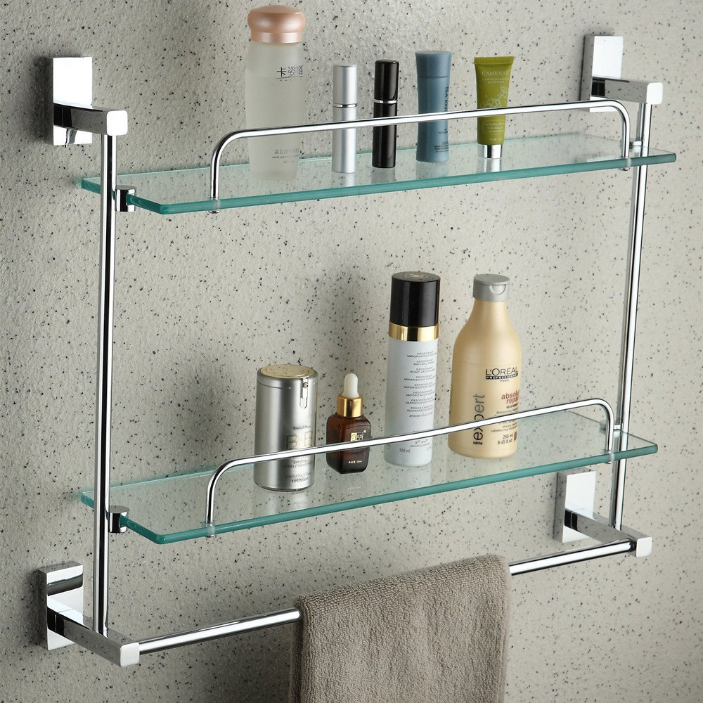 YUTU JL00 Wall Mounted Bathroom Rctangular Cosmetic Shelf with Towel Bar Polished Chrome Solid Brass Glass Rack Holder 21.5-inch (Double Layers)