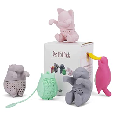 Tea Infuser Set for Loose Leaf Tea – Get the Hippo, Platypus, Owl, Kitty and Otter Tea Strainer ParTea Pack for More Enjoyable Tea Times with Friends, 5-pack, Multi Colour