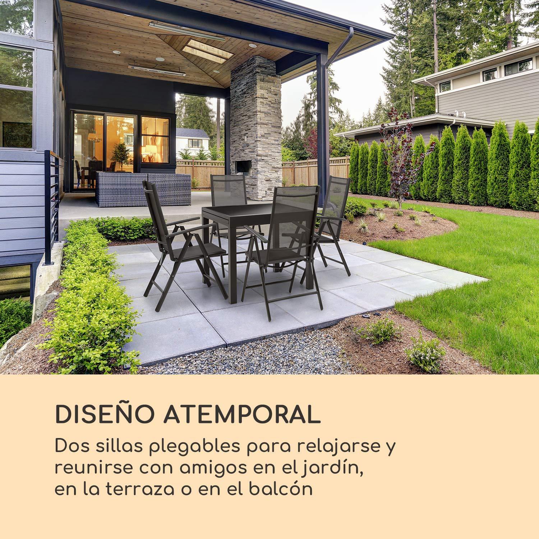 Blumfeldt Almeria Garden Silla para Exteriores - Plegable , Lote de 2 , 56,5 x 107 x 68 cm , Respaldo reclinable en 7 Posiciones , Tejido Transpirable ...