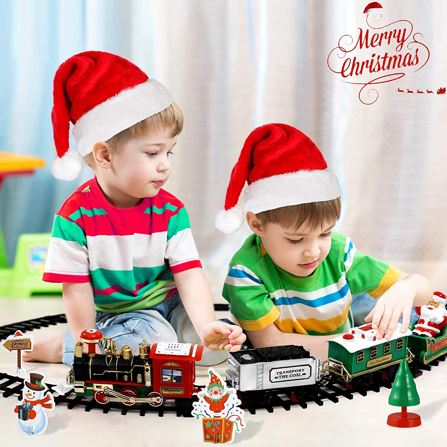 Toyvian Christmas Railway Train Set with 47.2 Railway Track /& 4 Cars Lights and Sounds Railway,Battery Operated Locomotive Engine Play Set Electronic Toys Gift for Kids
