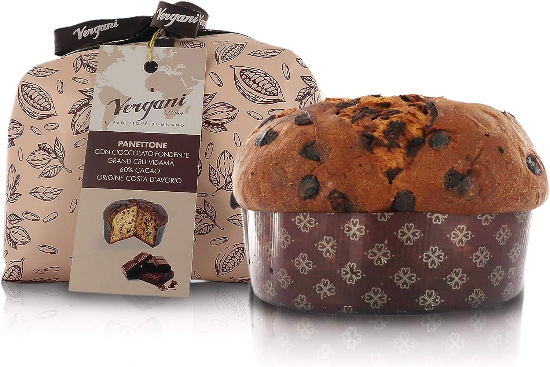 Vergani Gran Cru Vidamà Dark Chocolate Panettone, Hand-Wrapped, Italian Traditional Recipe - 750g / 1lb 10.4oz