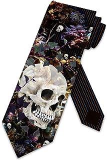 Mens Dead Sugar Skull Floral Rose Fashion Casual Tie Necktie