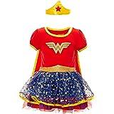 Warner Bros. Wonder Woman Costume Cape Short Sleeve Dress & Headband Set