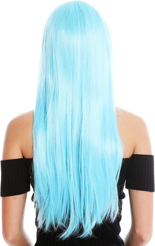 WIG ME UP- YZF-41062-T4516 peluca mujer cosplay pelo largo liso flequillo con raya color azul claro