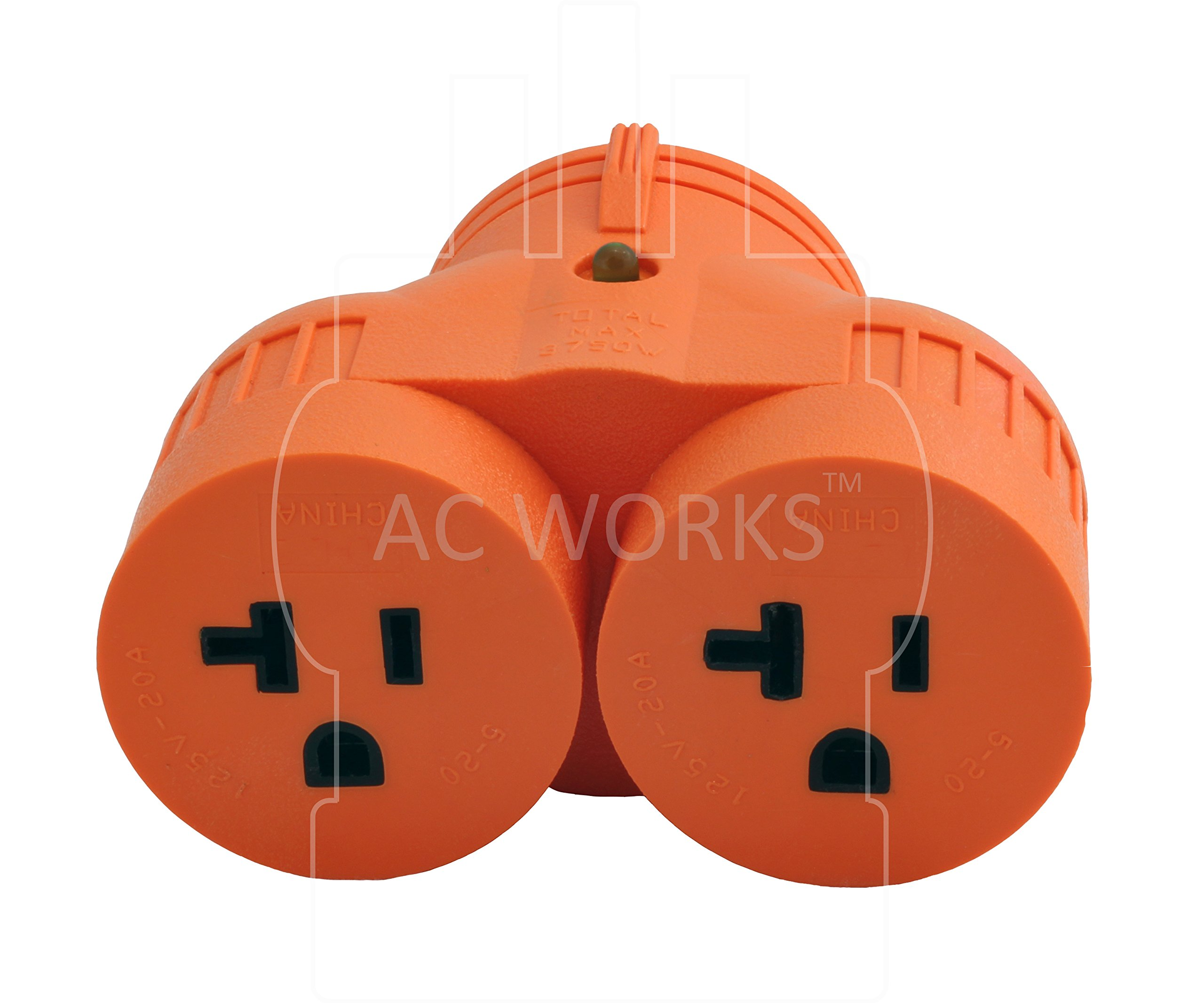 AC WORKS [ADVL1420520] Generator V-DUO Adapter NEMA L14-20P 20Amp 4-Prong Locking Plug to (2) 15/20Amp Household Connectors by AC WORKS (Image #4)