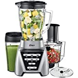 Oster Blender | Pro 1200 with Glass Jar, 24-Ounce Smoothie Cup and Food Processor Attachment, Brushed Nickel - BLSTMB…