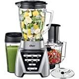 Oster Blender | Pro 1200 with Glass Jar, 24-Ounce Smoothie Cup and Food Processor Attachment, Brushed Nickel - BLSTMB-CBF-000