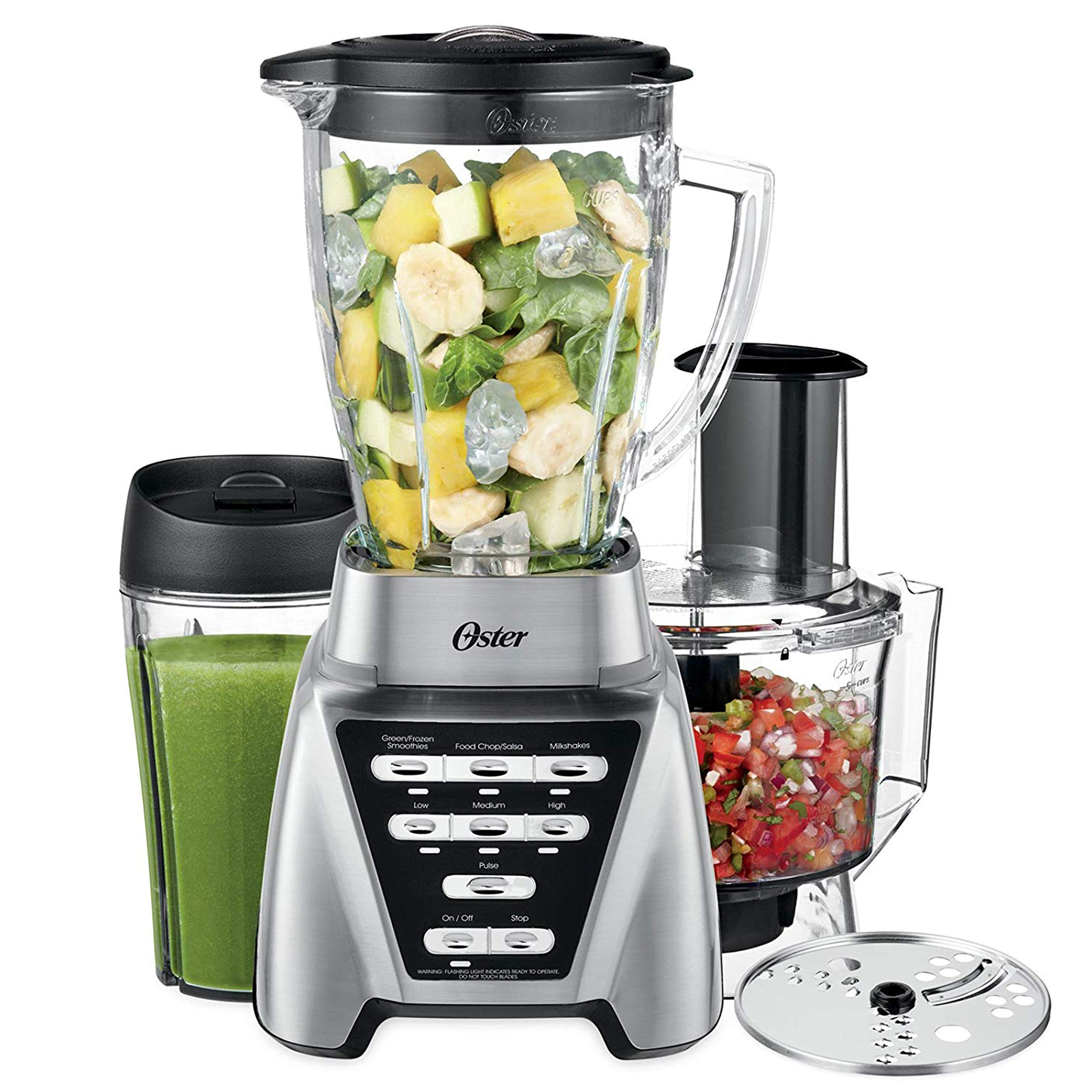 Oster Pro 1200 Blender with Glass Jar plus Smoothie Cup & Food Processor Attachment, Brushed Nickel by Oster (Image #1)