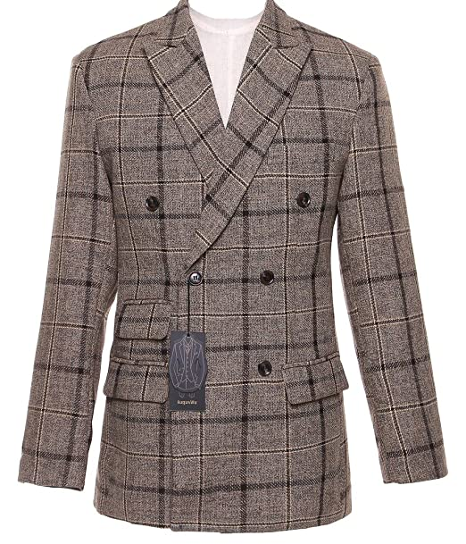 6d9b3d1ab5105 auguswu Mens Double Breasted 3 Picec Business Suit Pants Sets