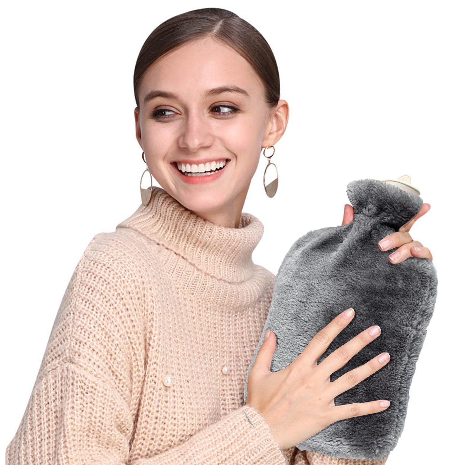 Hot Water Bottle, Samione Hot water bag With Soft Fleece Removable Cover 2L (Grey)