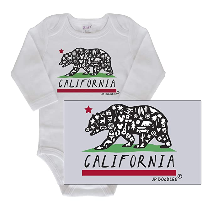 a9d4dbf40 JP DOoDLES California State Flag Bear, Baby Bodysuit, Novelty One-Piece,  Infant